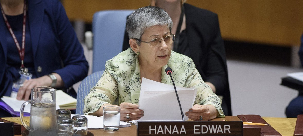 Hanaa Edwar, Secretary-General of the Iraqi Al-Amal Association, addresses the Security Council meeting on the protection of civilians in armed conflict.