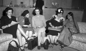 La Subcomisión sobre el Estatus de la Mujer en una rueda de prensa en el Hunter College, Nueva York.