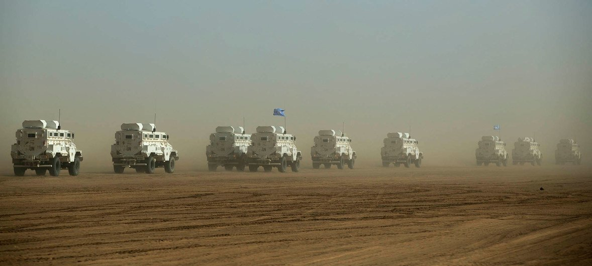 A UN convoy travels between Gao and Kidal, in Northern Mali, in February 2017.