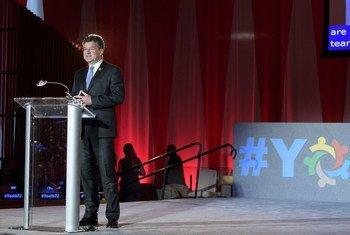 青年工作是联合国大会第72届会议主席莱恰克所关注的重点之一。图为莱恰克在联大青年对话活动上发表致辞。