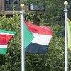 न्यूयॉर्क स्थित संयुक्त राष्ट्र मुख्यालय में सूडान का ध्वज.