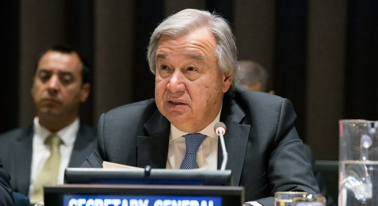 Secretary-General António Guterres makes remarks during the high-level debate to mark the 15th anniversary of the adoption of the United Nations Convention against Corruption.