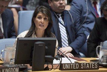 سفيرة الولايات المتحدة في الأمم المتحدة، نيكي هالي تخاطب مجلس الأمن(أرشيف)