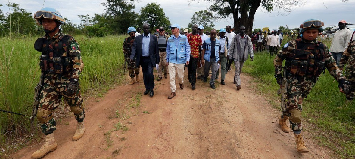 Mark Lowcock, the UN Emergency Relief Coordinator arrives in Mundu in South Sudan's Central Equatoria province. The area is under the control of the Sudan People's Liberation Army (SPLA)-in opposition.