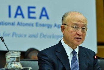 El director general del OIEA Yukiya Amano durante su discurso inaugural en la Junta de Gobernadores.
