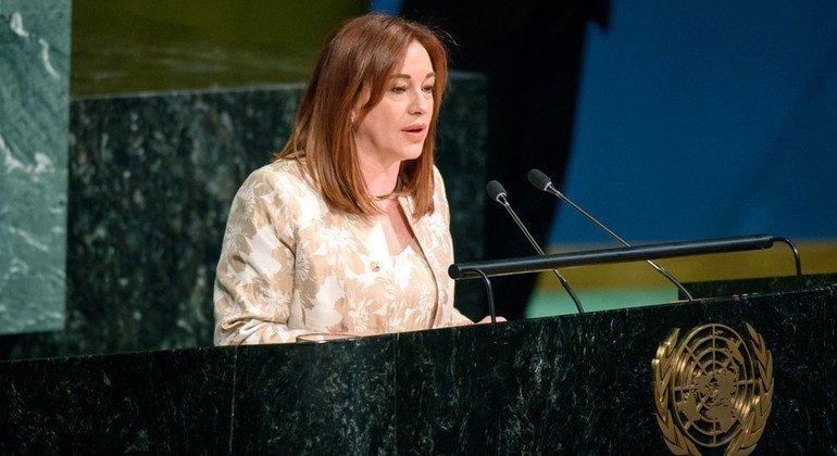 La canciller de Ecuador, María Fernanda, Espinosa, recién elegida como la próxima presidenta de la Asamblea General de la ONU, se dirige a los Estados miembro