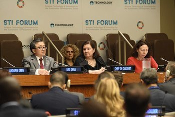 Liu Zhenmin (left), Under Secretary-General for Economic and Social Affairs; Maria Luiza Ribeiro Viotti (center), Chef de Cabinet for the UN Secretary-General and Marie Chatardová (right), President of the Economic and Social Council, at the annual STI Forum (Science, Technology and Innovation for the Sustainable Development Goals).