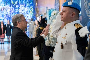 António Guterres durante a cerimónia na sede da ONU, em Nova Iorque.