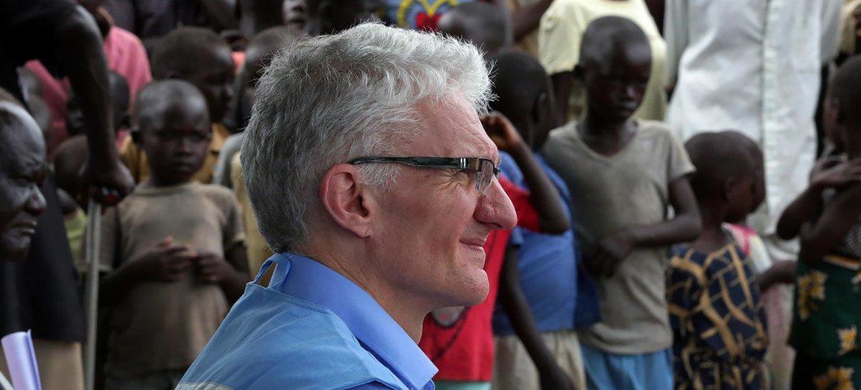 Mark Lowcock, chef de l'humanitaire de l'ONU, lors d'une visite au Soudan du Sud (photo d'archives).