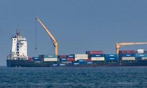 Freight ship off the Democratic Republic of São Tomé and Príncipe.