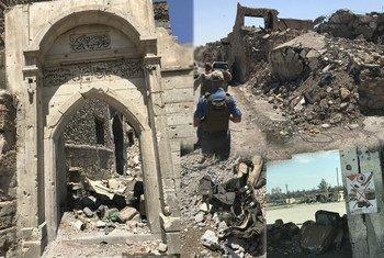 فريق تابع لدائرة الأمم المتحدة للأعمال المتعلقة بالألغام (أونماس) في زيارة ميدانية لغرب الموصل.