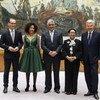 Los representantes de los cinco miembros no permanentes del Consejo de Seguridad recién elegidos. (de izq. a dcha): Alemania, Sudáfrica, el Ministro de Relaciones Exteriores de la República Dominicana, Miguel Vargas Maldonado, Indonesia y Bélgica.