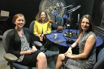 Elise Dietrichson (left), Fatima Sator (center) and Rebecca Adami (right) at UN News studio in UN Headquarters in New York.