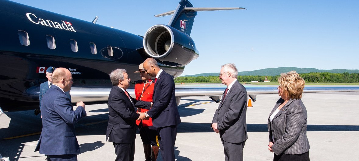 The UN Secretary-General, Antonio Guterres is greeted by officals as he arrives in Canada for the G7 meeting.