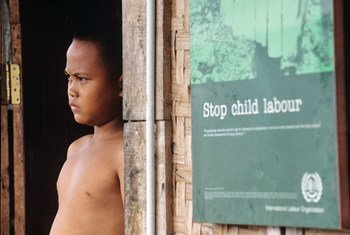Indonesian child labourer in fishing and footwear sector.