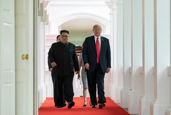 Líder da Coreia do Norte, Kim Jong-un, e o presidente norte-americano Donald Trump.