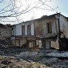 Les restes de maisons d'un village dans la région de Luhanks, en Ukraine, qui ont été détruites lors du conflit armé