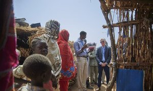 UN Emergency Relief Coordinator Mark Lowcock speaks with internally displaced persons at a camp in South Kordofan, Sudan.
