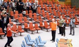 Embaixadores do Conselho de Segurança exibem suas habilidades com camisas de seus países.