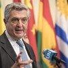 Le Haut-Commissaire des Nations Unies pour les réfugiés, Filippo Grandi, s'exprimant devant la presse au siège des Nations Unies