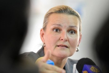 UN Humanitarian Coordinator for Yemen, Lise Grande at a press conference. (file)