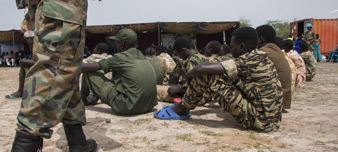 Baadhi ya watoto walioachiliwa huru na makundi yaliyojihami huko nchini Sudan  Kusini.