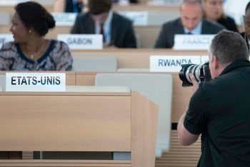 The seat vacated by the United States of America at the Human Rights Council in Geneva. 20 June 2018.