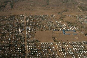 Pichani iliyopigwa kutoka angani inaonyesha sehemu ya makazi kwenye kambi ya wakimbizi ya Kakuma nchini Kenya