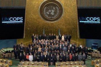 Участники второго Саммита глав полицейских подразделений ООН в зале Генеральной Ассамблеи, июнь 2018 года