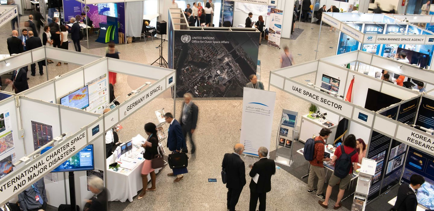 Glimpses of the UNISPACE+50 exhibition, which features over 40 exhibitors showcasing the latest advances in space technology and a preview of what is to come in the near future.