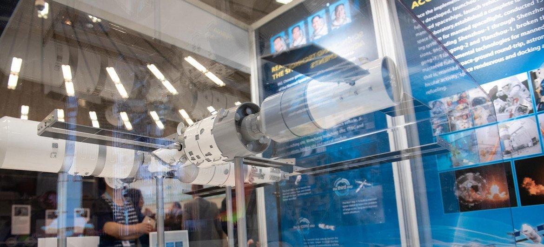 Un modèle de la station spatiale chinoise présenté par l'Agence spatiale chinoise. La station devrait être opérationnelle à partir de 2022.