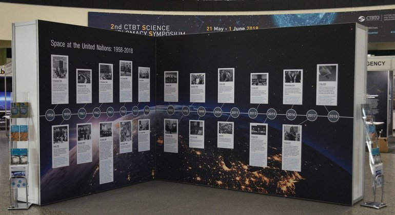 """The UNOOSA exhibit """"Space at the United Nations:1958–2018"""" showing key events and milestones."""