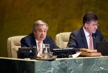Secretary-General António Guterres (left) addresses the UN General Assembly meeting on the responsibility to protect and the prevention of genocide, war crimes, ethnic cleansing, and crimes against humanity.