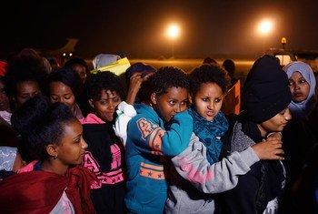 Wahamiaji kutoka kituo walimokuwa wakishikiliwa nchini Libya na kusafirishwa hadi Niger
