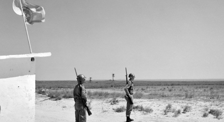 Brazilian soldiers, part of the UN Emergency Force in Gaza, are seen here keeping a watch on the Armistice Demarcation Line, at the southernmost portion of the Gaza strip.
