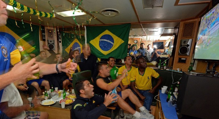 """Brazilian peacekeepers of UNIFIL Maritime Task Force watching the opening match of the 2014 Brazil World Cup on board of the MTF's flagship """"Liberal"""" docked at Beirut Port. June 12, 2014."""