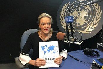 Maria Emma Mejía, Representante Permanente de Colombia ante las Naciones Unidas, presentando HERstory.