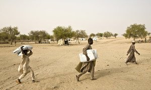 Nigerian refugees at a refugee camp in south Niger.