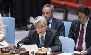 Tadamichi Yamamoto, Représentant spécial du Secrétaire général pour l'Afghanistan, devant le Conseil de sécurité.