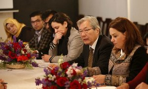 Tadamichi Yamamoto (third from right), Head of the United Nations Assistance Mission in Afghanistan (UNAMA), and UNAMA Human Rights Chief Danielle Bell host women's rights activists to discuss women's access to justice in the country, 30 May 2018.