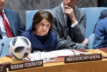 Rosemary A. DiCarlo, Secrétaire générale adjointe aux affaires politiques, s'adresse au Conseil de sécurité lors d'une réunion sur la non-prolifération