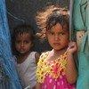 في عدن، أطفال نازحون من مدينة تعز باليمن بسبب الصراع.
