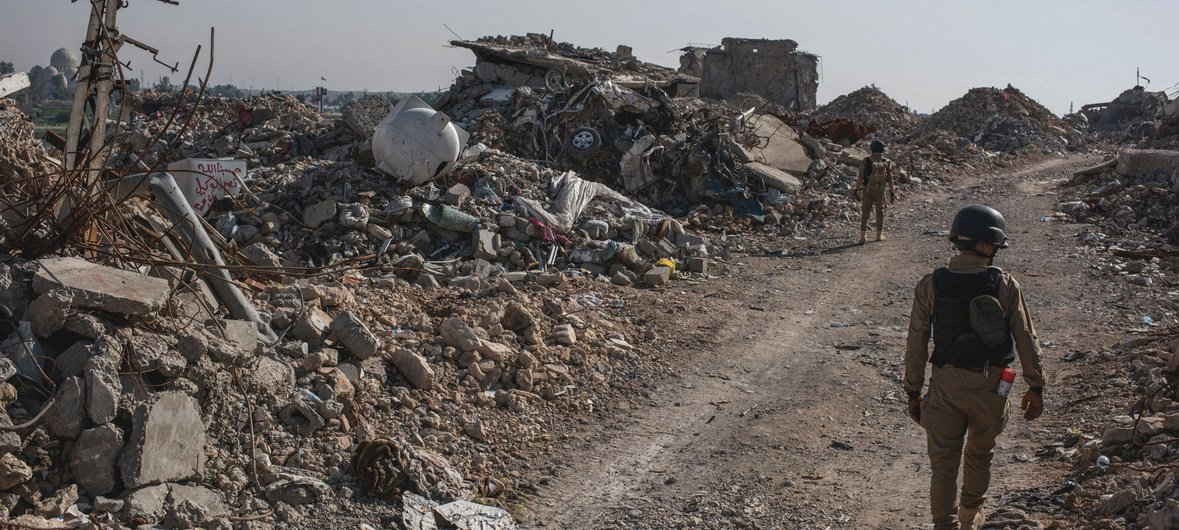Mine clearance experts conduct operations in the heavily destroyed Old City of Mosul, Iraq .