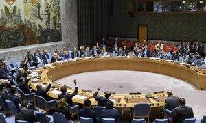 Le Conseil de sécurité lors d'un réunion sur la situation en Libye en juin 2018.