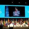 Mami Mizutori, representante de la Secretaria General para la Reducción de Riesgos de Desastres en la inauguración de la VI Plataforma Regional para la Reducción del Riesgo de Desastres en las Américas.