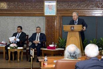 联合国秘书长古特雷斯在孟加拉国首都达卡举行的有关可持续发展目标多利益攸关方对话会议上发表讲话。
