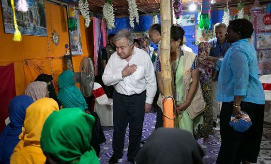 Secretary-General António Guterres (center) meets with Rohingya refugees in Cox's Bazaar, Bangladesh.