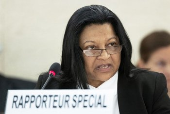 Sheila Keetharuth, Special Rapporteur on the situation of human rights in Eritrea, presents her report to the 38th Regular Session of the Human Rights Council in Geneva, 26 June 2018.