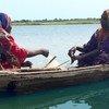 像法尔玛塔(右)这样的女渔们在乍得湖上辛勤地工作。在过去几十年里,乍得湖已缩小到原来面积的十分之一,鱼群数量大为减少。