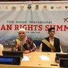 أماني ومالك من البعثة الأردنية المشاركة في المؤتمر السنوي الخامس عشر لحقوق الإنسان في نيويورك.